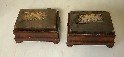 matched pair antique Empire salesman sample doll foot stools-Hunting dog Spaniel
