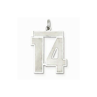 925 Sterling Silver Rhodium-plated Large Satin Milestone Number 32 Charm