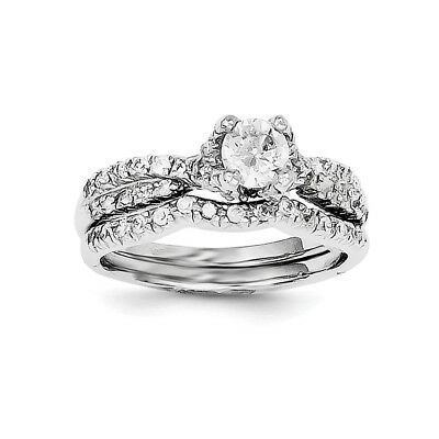 925 Sterling Silver 2 Piece Cubic Zirconia Cz Wedding Set Band Ring Engagement