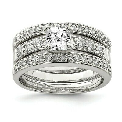 925 Sterling Silver Cubic Zirconia Cz 3 Piece Wedding Set Band Ring Engagement