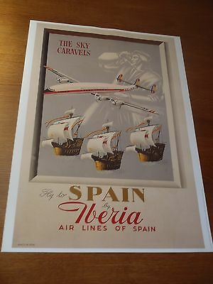 POSTER AFFICHE 50 X 70 cm IBERIA AIR LINES REPRODUCTION D'ANCIEN