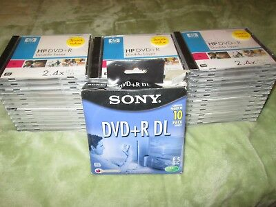HP 3 Pack DVD+R DL Double Layer DVD Disk 8.5 GB 240 min Video 2.4X Disc Lot Case