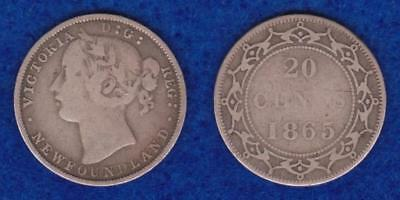 Newfoundland Silver 20 Cents 1865  ---  Qdpy