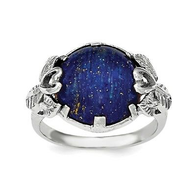 925 Sterling Silver Lapis Lazuli Band Ring Size 7.00 Natural Stone Fine Jewelry