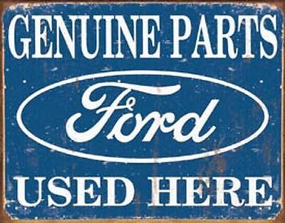 "Ford Genuine Used Parts Logo Vintage Tin Sign Metal Poster 16"" 12.5"""