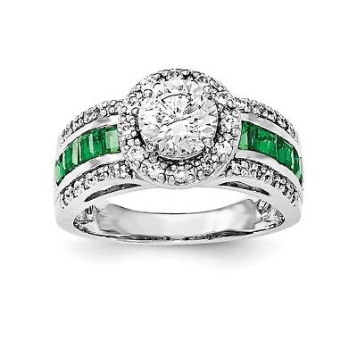 925 Sterling Silver Cubic Zirconia Cz Lab Created Green Emerald Band Ring Size