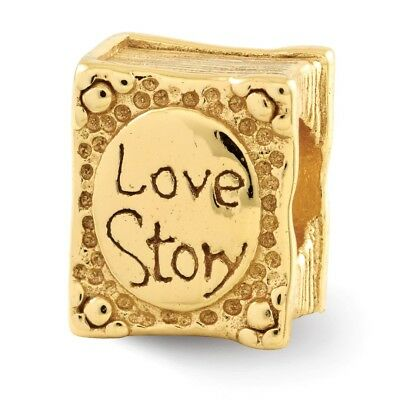 925 Sterling Silver Gold Plated Charm Bracelet Love Story Book Bead Fine