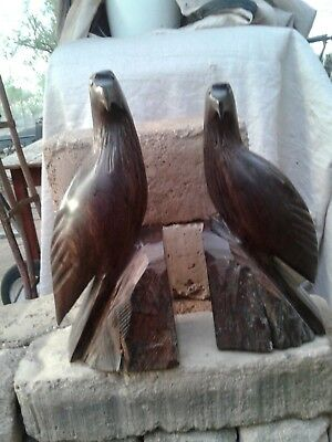 carved ironwood eagles bookends mexico wood birds folk art H