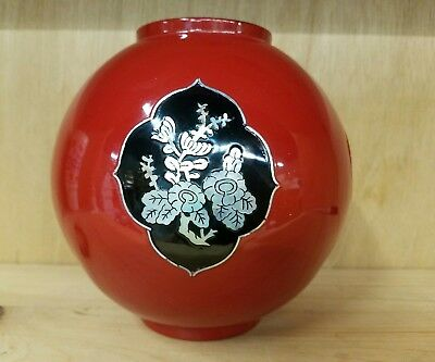 Red Lacquer Korea Korean Vase Bowl w/ Mother of Pearl Decoration Round