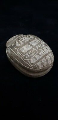RARE ANCIENT EGYPTIAN SCARAB Beetle Amulet CARVED STONE ANCIENT EGYPT BC