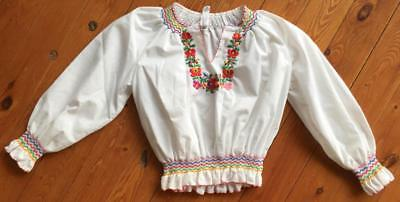 Girl's Matyo Hungarian Ethnic Folk Peasant Long Sleeve Embroidered Blouse