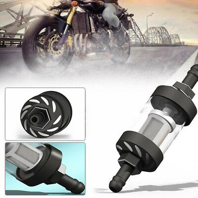 Motorcycle Gas Fuel Oil Filter CNC Connector Fuel Filter for Motocross ATV_Black