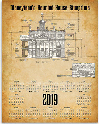 Disneyland Calendar 2020.Disneyland 2019 2020 Calendar Disney Hatbox Ghost Fireworks 16 Month