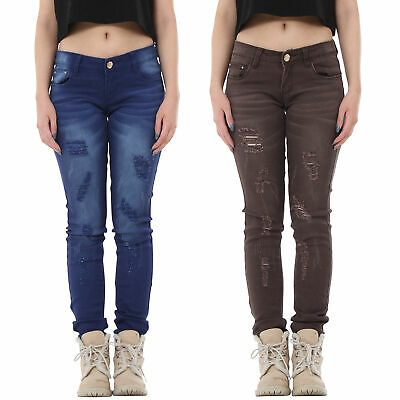 New Womens Ripped Distressed Frayed Coloured Slim Skinny Stretch Hipster Jeans