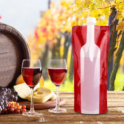 4 Pack 750ml Foldable Wine Bag with Funnel Portable Reusable Plastic Wine Bottle