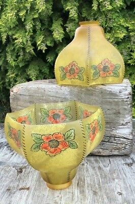 A Pair of Vintage Antique Beautiful Glass Victorian Lamp Shades *