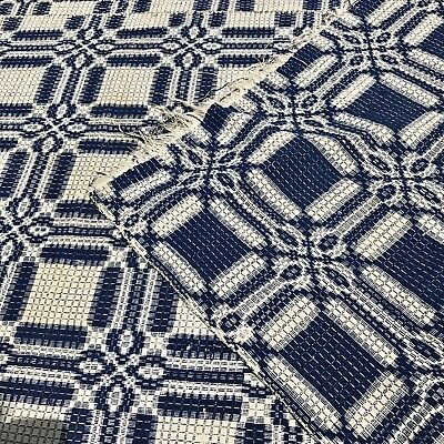 Antique Victorian Era 19th C Woven Homespun Coverlet Indigo White Textile Throw