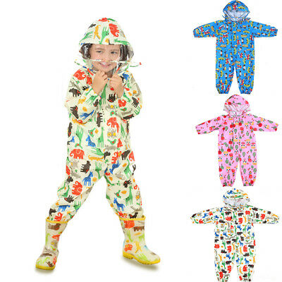 ALS_ HOT Cartoon Raincoat Kids Jumpsuit Rainwear Boy Girl Waterproof Poncho Reli