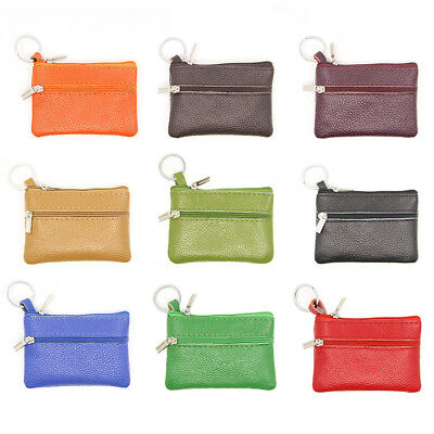 ALS_ Genuine Leather Coin Pouch Wallet Car Key Case Holder Women Keyring Bags Pr