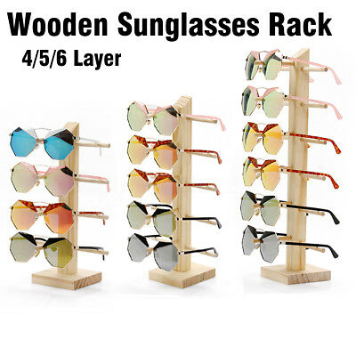 Sunglasses Eye Glasses Display Rack Stand Holder Wooden Organizer 4/5/6 Layers