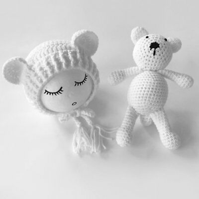 Newborn Baby Boy Girl Photography Prop Outfit Photo Knit Crochet Doll + Hat F1