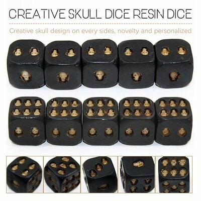5Pcs Black Skull Dice Strange Skeleton Six Sided Resin Dice Party SET Fashion ZI