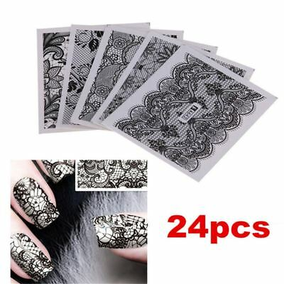 24 Sheets DIY Black Lace Decals Nail Art Water Transfer Printing Stickers Decor