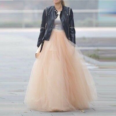 Ladies 6 Layers 100cm Long Skirts Summer Ball Gown Pleated Tulle Tutu Skirts