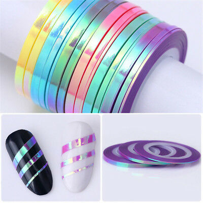 3Pcs 1-3mm Mermaid Nail Striping Tape Adhesive Stickers Tool Nail Art Decoration