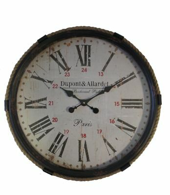 Large 63CM Retro / Vintage Black Metal Cased Wall Clock With Rope Edging.New.