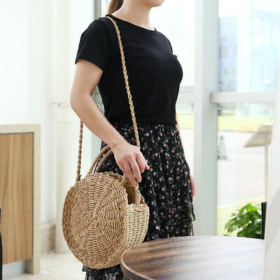 Beach Bag Round Handwoven Rattan Circle Handmade Women Bamboo Straw Satchel US