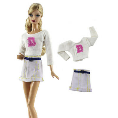 2X/Set Handmade Doll White Skirt Suit for Barbie 1/6 Doll Party Daily Clothes JC
