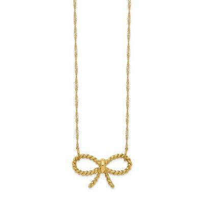 14k Yellow Gold Bow 16.5 Inch Chain Necklace Pendant Charm Fancy Fine Jewelry
