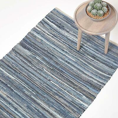 Recycled Blue Denim Chindi Rug Handwoven Eco Friendly Unique Striped Fabric Rug
