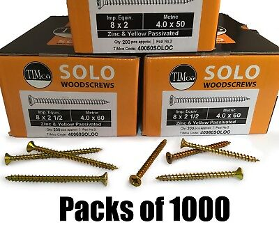 Packs of 1000 TIMco 8g 4mm Solo Wood Screws Yellow Pozi Countersunk Chipboard