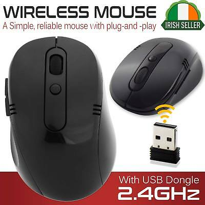 Wireless Cordless Mouse Optical Scroll For PC Laptop Computer + USB Black