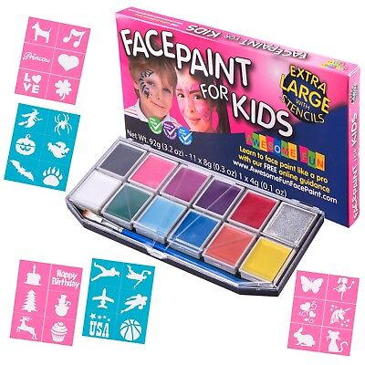 X-Large Face Paint Kit with 30 Stencils for Kids. Includes Glitter and Brushes!