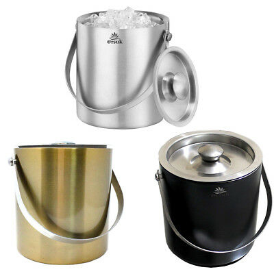 Ice Bucket with lid ice cube bucket 2Ltr Double Wall Insulated Stainless Steel