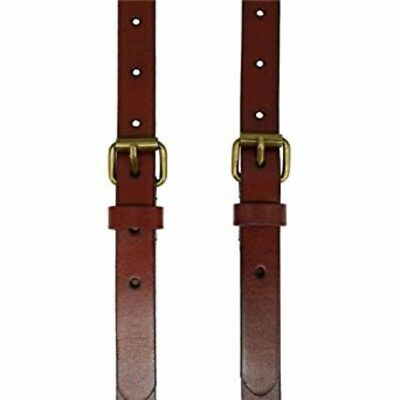 Men's Reddish Brown Shiny Genuine Leather Suspenders, Steampunk Style Y back