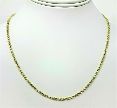 Real 14K Yellow Gold Necklace Gold Rope Chain 1.8 mm 16''-30''  Genuine 14KT