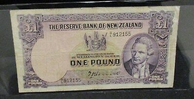 The Reserve Bank of New Zealand One Pound - Center Fold/Hole