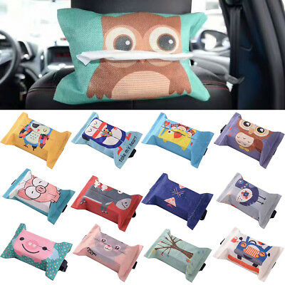 ALS_ Linen Cartoon Tissue Box Home Bathroom Paper Napkin Holder Case Car Storage