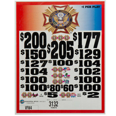 """NEW GAME  """"VFW"""" 3 Window Pull Tab 3132 Tickets Payout $2410"""
