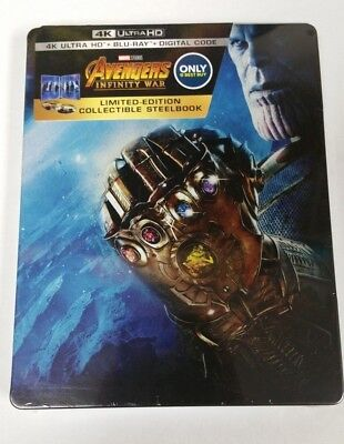Avengers: Infinity War Collectible Steelbook 4K HDR Ultra HD Blu-Ray NEW