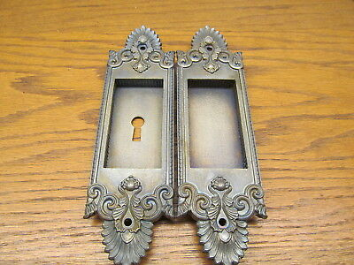 Pair Brass ? Bronze ?  Pocket Door Escutcheons...door Back Plates...ornate