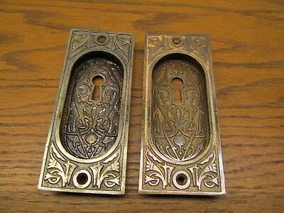 "Pair Brass ?? Plated Pocket Door Escutcheons...""as Found"" Ornate"