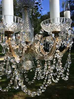 Marie Therese Stunning Vintage Real Crystal Chandelier 8 Arms Tall Glass Candles