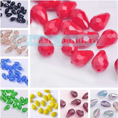 12x8mm Faceted Crystal Findings Czech Glass Loose Spacer Teardrop Beads 20pcs