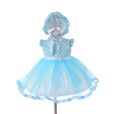 Baby Girls Party Dresses Bonnet Yellow Pink Blue 0 3 6 12 18 24 Months
