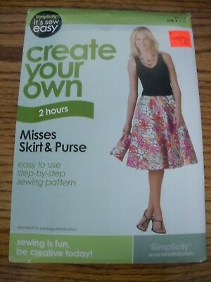 SIMPLICITY PATTERN IT\'S So Easy #3834 Misses\' Skirts & Purse Size A ...
